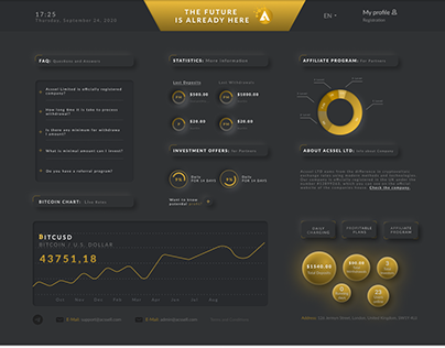 Design of the first page of the cryptocurrency bank