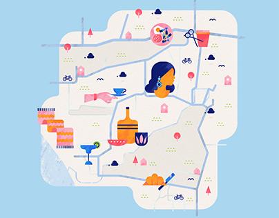 Petitenget, Bali Map