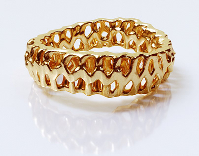 Gold Coral Helix Ring Jewelry Design