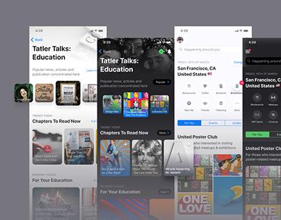 iOS design kit. Mobile home / start screen for app