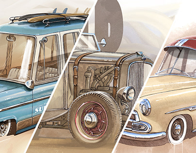 Cartoon automotive illustrations