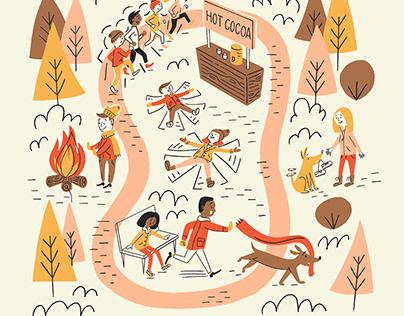 Cabin Fever Run Poster Illustration