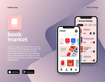 Book Market mobile app concept