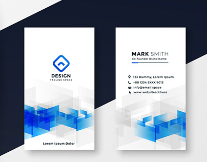 Vertical White & Blue Visiting Card