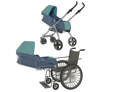 Stroller for parents with walking disabilities