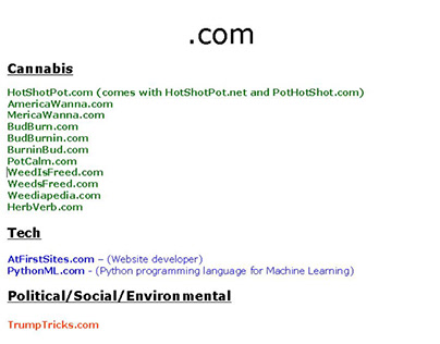 Some of My Domain Names (Many of which are for sale)