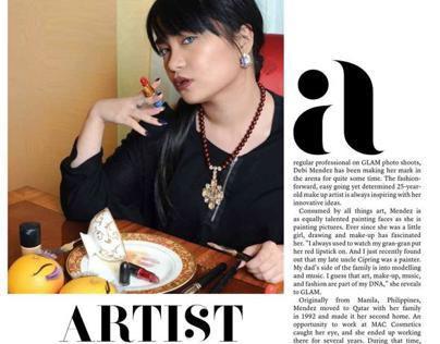 "Debi Mendez: ""Artist ambition""   Glam magazine Jan.2013"