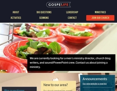 Gospel Life Church of Bowie: Homepage redesign
