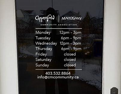 Copperfield Mahogany CA Business Hour Door Decals