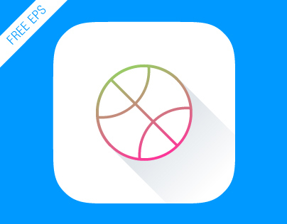 FREE iOS 7 App Icon Dribbble (animated) EPS 8 vector