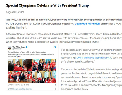 Special Olympians Celebrate with President (blog post)