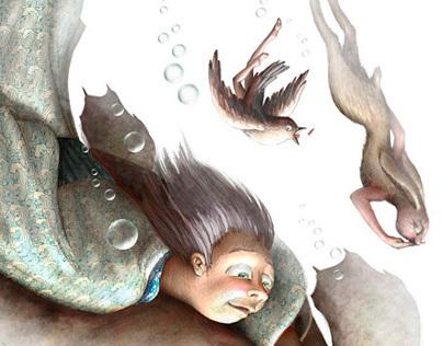 "Osamu Dazai's ""Fairy Tales"". Bookcover illustration"