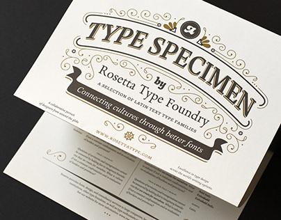 Specimen of text typefaces