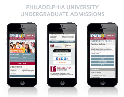 PhilaU: Undergraduate Admissions Web Redesign