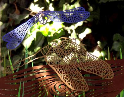DRAGONFLIES - manual paper cut