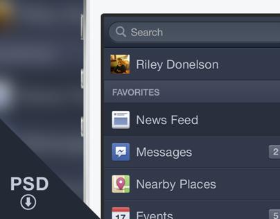 Free PSD - Facebook iOS6 Menu