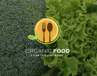 Organic food leaf spoon fork plate circle logo design