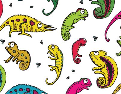 Chameleon illustration pattern