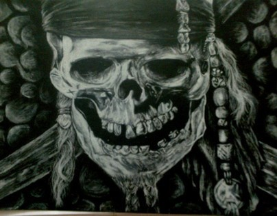 skull .. with white charcoal