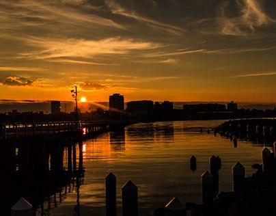 Sunrise and Sunset at St.Kilda Pier Melbourne Australia