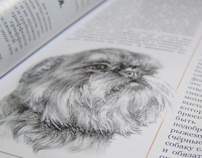 Hand drawn dog portraits in magazine