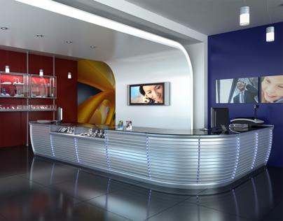 3d Shop and bar counter scenes