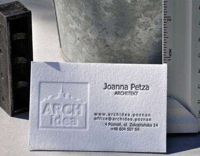 Properly organized architect card.