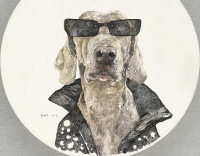 酷狗 Cool Dog  Φ40cm acrylic ink on canvas