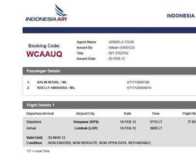 Indonesia Air - E-Ticket Design