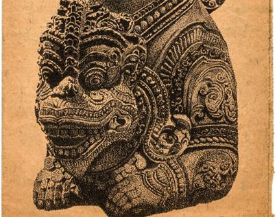 Stippling Champa Statue