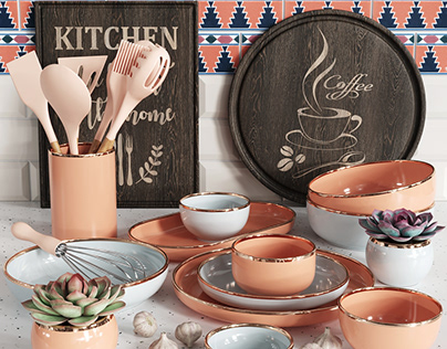 3D model of a set of items for the kitchen