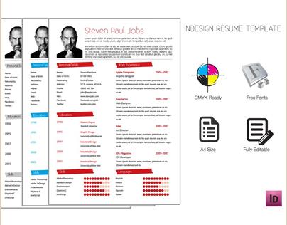 adobe indesign resume template on behance. Black Bedroom Furniture Sets. Home Design Ideas