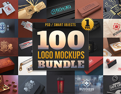 100 Logo Mockups Bundle Vol.1
