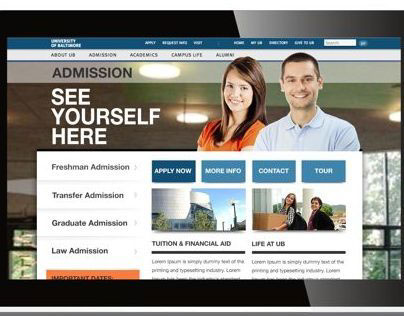 University of Baltimore Admissions Page and Mobile