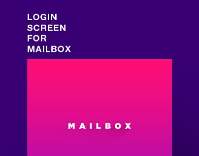 Concept design for Mailbox login screen