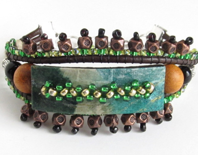 Paper, Leather, and Bead Bracelet
