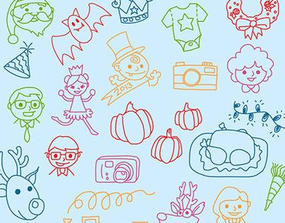 BinkyPop Theme Illustrations