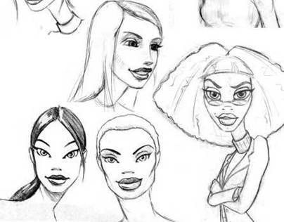 Sketches for Ponds Acne Dots Animated Characters