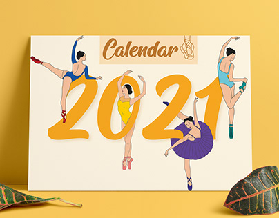 Calendar for 2021 with ballerinas