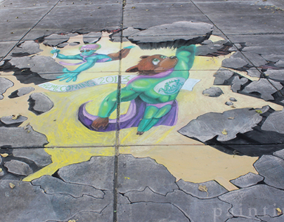 Adams State University Homecoming 3D Chalk Art