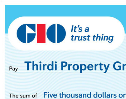 GIO Insurance – Novelty cheque