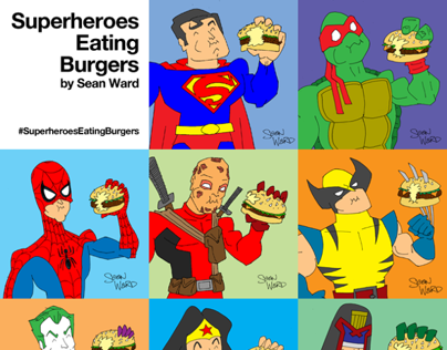 Superheroes Eating Burgers