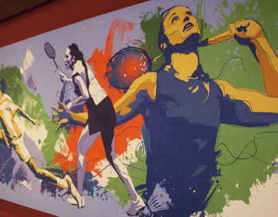 Badminton-Squash Graphic wall- MCA Club Mumbai,India