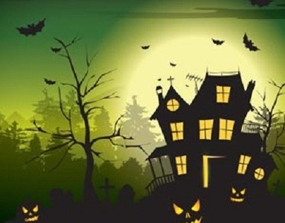 Free vector Halloween scary hunted house template