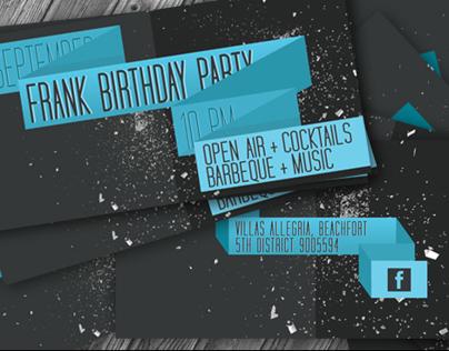 Flat Retro Birthday Party Invite II