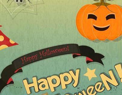 Vector Retro style Happy Halloween Poster