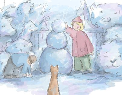 pom pom peep snow scene