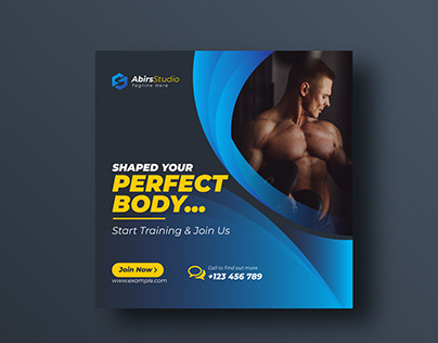 Fitness Social Media banner or Squire flyer template