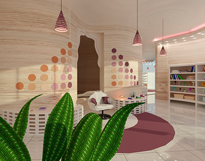 3D visualization of a fictional hairdressing salon