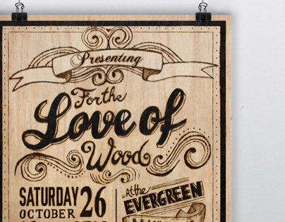 Wood Burned Typography Poster